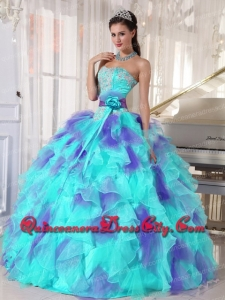Discount Ball Gown Sweetheart Organza Floor-length Appliques Quinceanera Dress