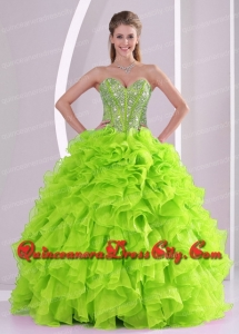 Discount Best Seller Spring Green Sweetheart Ruffles and Beading 2014 Quinceanera Dresses