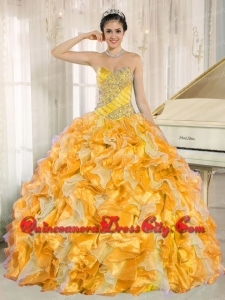 Discount Custom Made For Yellow Quinceanera Dress with Beaded and Ruffles