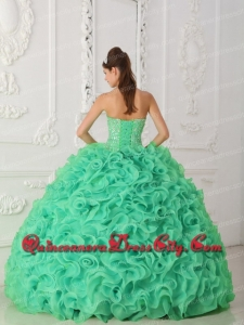 Discount Turquoise Strapless Organza Quinceanera Dress with Beading