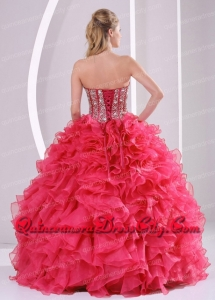 Elegant Red Ball Gown Sweetheart Ruffles and Beading Decorate Quinceanera Dresses in Sweet 16