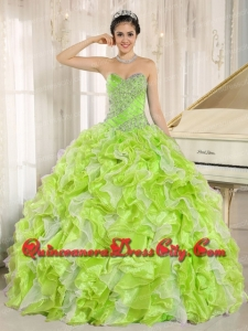 Fashionable Beaded and Ruffles Custom Made For Yellow Green Quinceanera Dress