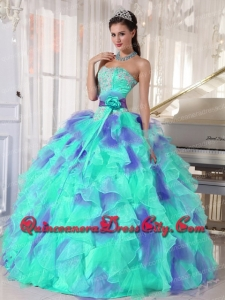 Fashionable Ruffles and Appliques Floor-length Quinceanera Dress with Organza