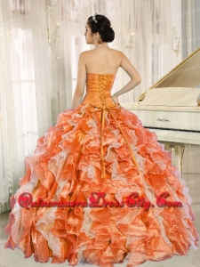 Featured Beaded and Ruffles Custom Made For Orange Sweetheart Quinceanera Dress