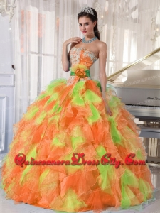 Featured Hand Made Flower and Ruffles Sweetheart Long Quinceanera Dress