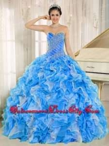 High Fashion Beaded and Ruffles Custom Made For Quinceanera Dress In Blue