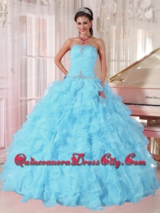 High Fashion Light Blue Ball Gown Strapless Ruffles Organza Beading Quinceanera Dress