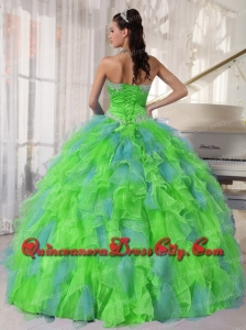 High Fashion Spring Green and Blue Organza Appliques and Ruffles Quinceanera Dress