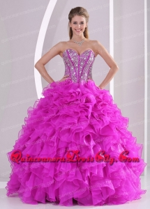 Unique Ruffles and Beading Sweetheart Floor-length Fashionable Quinceanera Dresses for 2014 summer