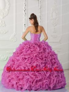 Ball Gown Strapless Organza Beaded Hot Pink In Stock Quincenaera Dresses