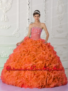 Ball Gown Strapless Organza Beading Orange Red Magic Miss Quinceanera Dresses