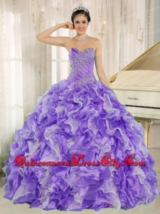 Beaded and Ruffles Custom Made For Purple Luxurious Quinceanera Dresses
