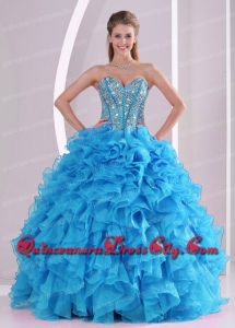 Blue Sweetheart Organza 2014 Luxurious Quinceanera Dresses with Fitted Waist