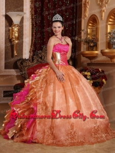 Discount Ball Gown Strapless Ruffles Organza Magic Miss Quinceanera Dresses with Embroidery