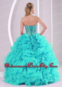 Elegant Aqua Blue Ball Gown Sweetheart Ruffles and Beaded Decorate Modern Quinceanera Dresses