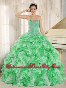 Green Beaded and Ruffles Custom Made For Sweetheart In Stock Quincenaera Dressses