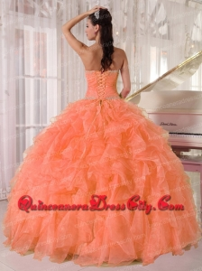 Lovely Orange Ball Gown Strapless Organza Newest Quinceanera Dresses with Beading and Ruffles