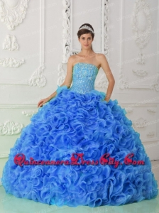 Organza Ball Gown Beaded Royal Blue Newest Quinceanera Dresses with Strapless