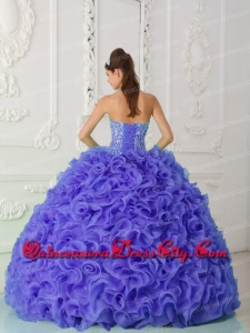 Organza Purple Modern Quinceanera Dresses with Ball Gown Strapless Beading