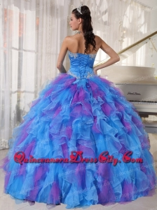 Sweetheart Appliques and Ruffles Organza Newest Quinceanera Dresses