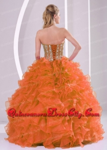Ball Gown Sweetheart Beading and Ruffles Orange Red Simple Quinceanera Dresses Organza