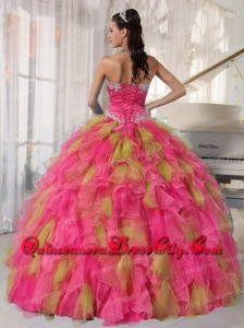 Sweetheart Ball Gown Fashinable Beading and Appliques Quinveanera Dresses 2014 Muti-color