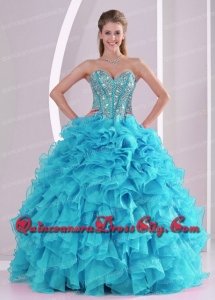 Sweetheart Beading Ruffles Aqua Blue Quinceanera Dresses 2014 Pretty Ball Gown Organza