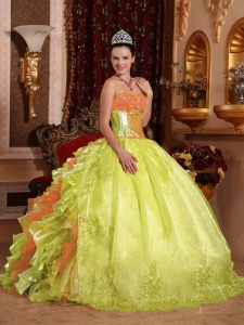 Ball Gown Embroidery Ruffles Beading Simple Quinceanera Dresses Yellow Green Organza