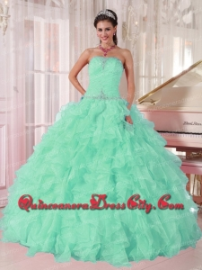 Ball Gown Strapless Beading and Ruching Organza Aqua Blue Top seller Quinceanera Dresses