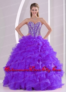 Beading and Ruffles Purple Organza Ball Gown Sweetheart Unique Quinceanera Dresses