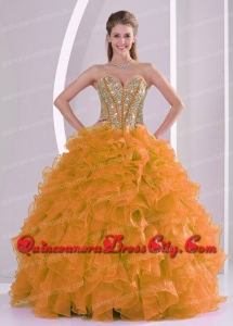 Beading and Ruffles Sweetheart Ball Gown Wholesale Quinceanera Dresses Organza