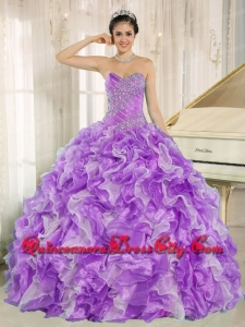 Beadings and Ruffles Organza Purple and White Ball Gown Sweetheart Spring Quinceanera Dresses