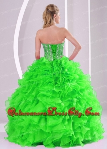 Spring Green Beading and Ruffles Organza Strapless Top seller Quinceanera Dresses Ball Gown