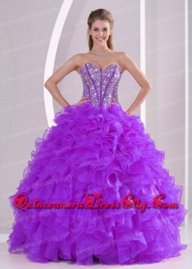 Spring Quinceanera Dresses Beading and Ruffles Organza Purple Sweetheart Ball Gown