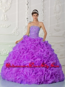 Strapless Ruffles Lilac Ball Gown Beading and Ruffles Wholesale Quinceanera Dresses Organza