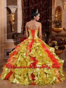 Sweet Sweetheart Organza Gold Embroidery Beading and Ruffles Ball Gown Top seller Quinceanera Dresses