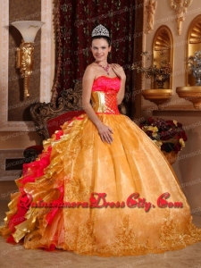 Sweetheart Ball Gown Wholesale Quinceanera Dresses Gold Organza Embroidery Ruffles Beadings