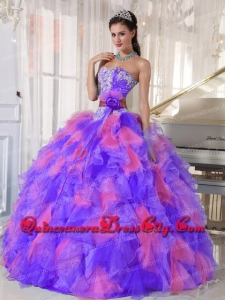 Sweetheart Beading Appliques Muti-color Organza Ball Gown Unique Quinceanera Dresses