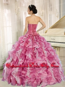 Sweetheart Beading and Ruffles Ball Gown Pink Organza Unique Quinceanera Dresses