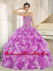 Sweetheart Beading and Ruffles Organza Lilac and White Ball Gown Simple Quinceanera Dresses