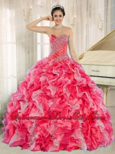Sweetheart Beading and Ruffles Organza Red and White Spring Quinceanera Dresses