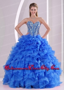 Sweetheart Unique Quinceanera Dresses Beading and Ruffles Blue Ball Gown Organza