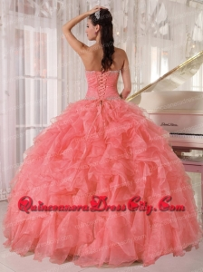 Sweetheart Watermelon Red Organza Beadings Ball Gown Spring Quinceanera Dresses