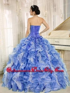 Wholesale Quinceanera Dresses Beading and Ruffles Blue and White Organza Ball Gown