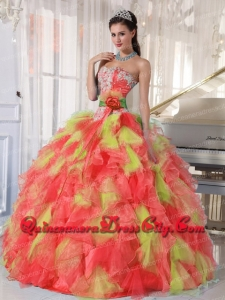 Wholesale Quinceanera Dresses Sweetheart Beading Appliques Organza Ball Gown