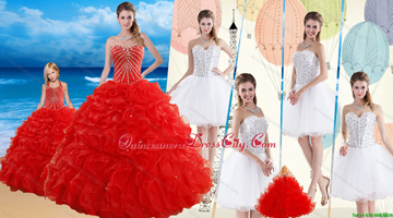 2021 Red Ruffled Quinceanera Dress and Beaded White Short Dama Dresses and Halter Top Beaded Pageant Dresses for Little Girl