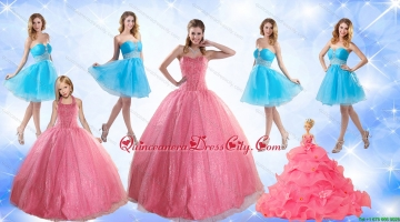 Cute Ball Gown Quinceanera Dress and Beading Baby Blue Dama Dresses and Rose Pink Halter Top Little Girl Dress