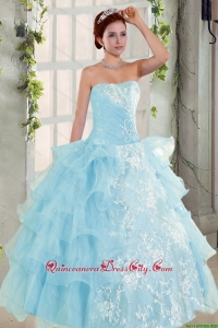 Strapless Ruffles Elegant Quinceanera Dress and Fashionable High Low Prom Dress and Appliques and Ruffles Baby Bule Little Girl Pageant Dress