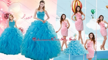 Teal Sweetheart Beading and Ruffles Sweet 16 Dress and Hand Made Flowers and Ruching Baby Pink Dama Dresses and Halter Top Ruffles Pageant Dresses for Little Girl