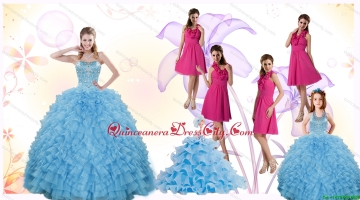 2021 Gorgeous Ruffles and Beading Quinceanera Dress and Hot Pink Short Dama Dresses and Cute Halter Top Little Girl Dress